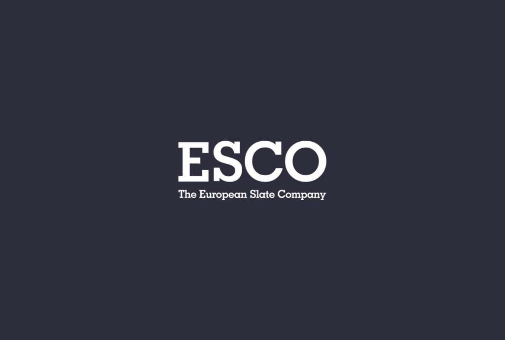 Logo of slate suppliers, ESCO brand logo, The European Slate Company emblem